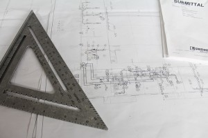 Photo of custom design-build drawings at NOR-BUILT Construction