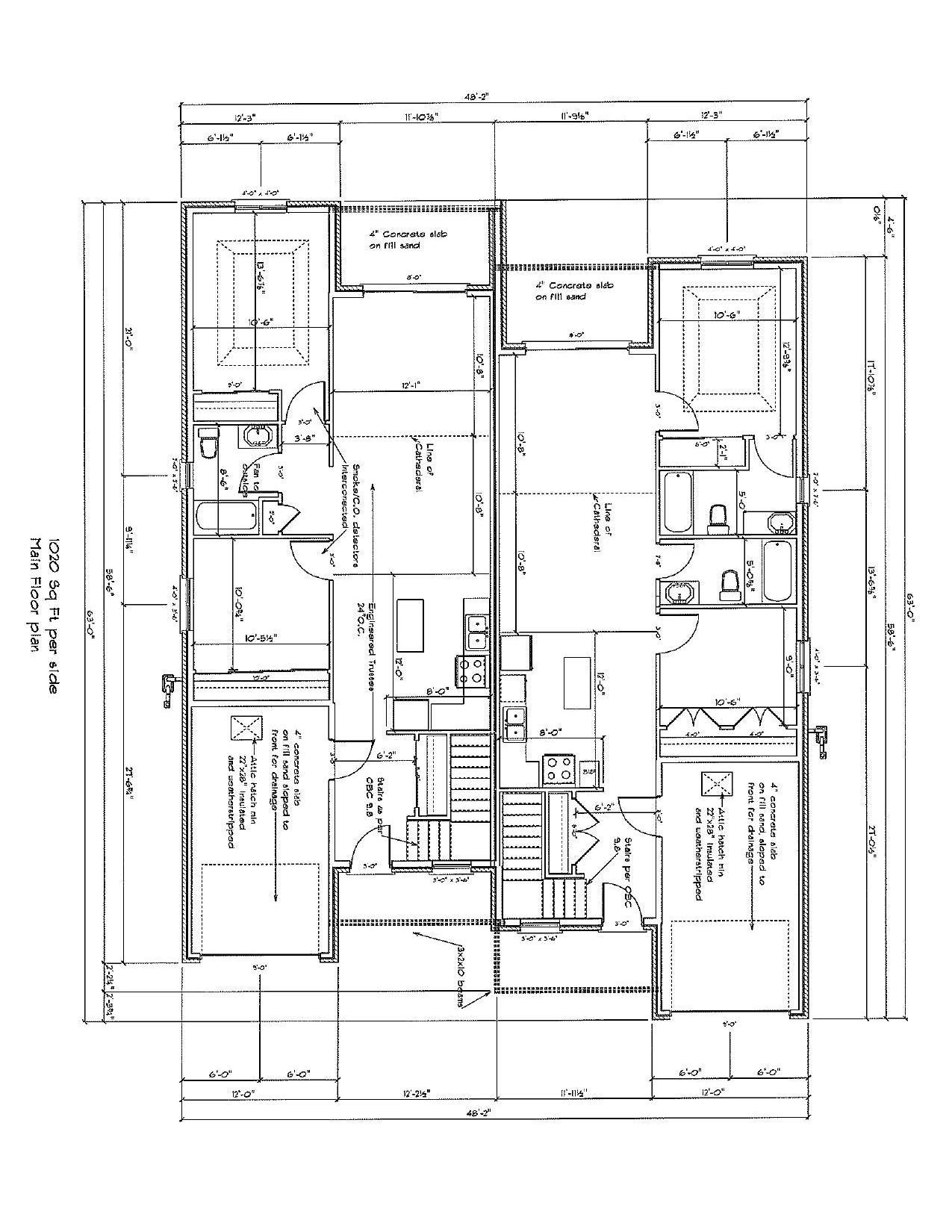 1 & 2 Bath Dimensional Floor Plan