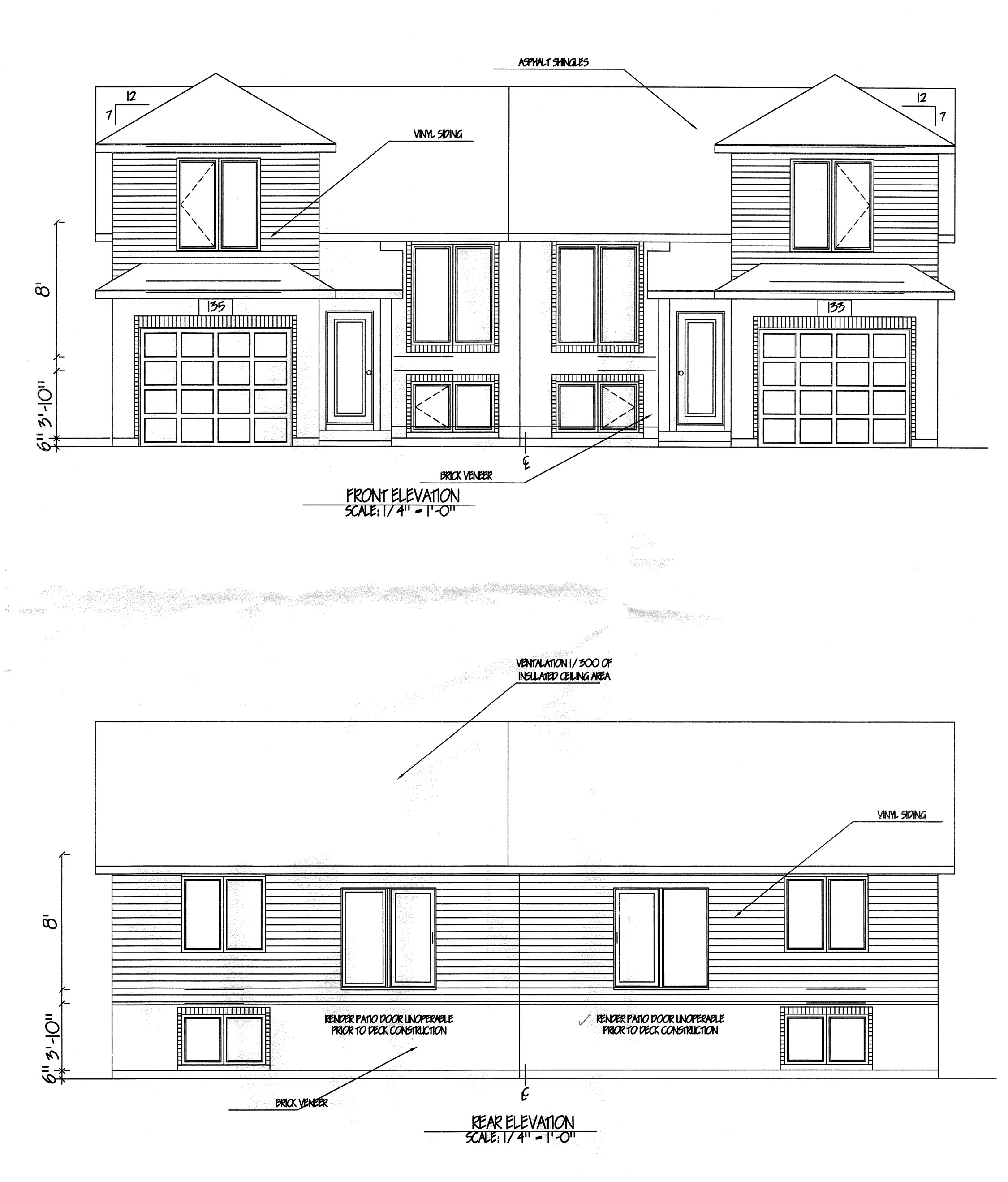 133 135 forhan front rear elevation nor built for What is rear elevation